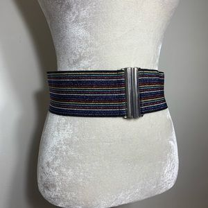 Vintage • metallic striped elastic waist belt